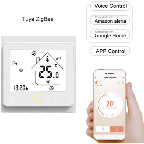 Tuya Zigbee3.0 Thermostat Intelligent 5A Hebdomadaire Programmable Regulateur De Temperature App Controle Vocal Controle Compatible Avec Alexa / Accueil Google, Blanc