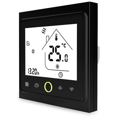 Tuya Zigbee3.0 Thermostat Intelligent 5A Hebdomadaire Programmable Regulateur De Temperature App Controle Vocal Controle Compatible Avec Alexa / Accueil Google, Noir