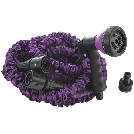 Tuyau 15 m extensible violet avec pistolet