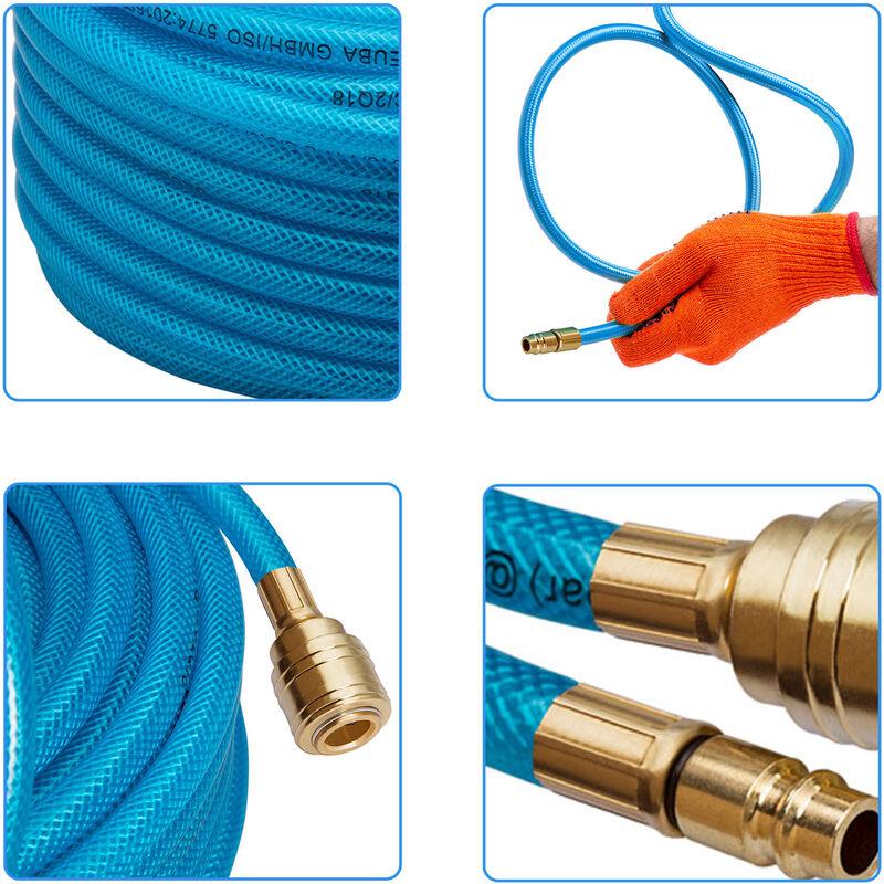 2x Tuyau /à air comprim/é 10m max 15 bar raccord rapide 1//4 /épaisseur 3mm tuyau pour appareils pneumatiques bricolage atelier