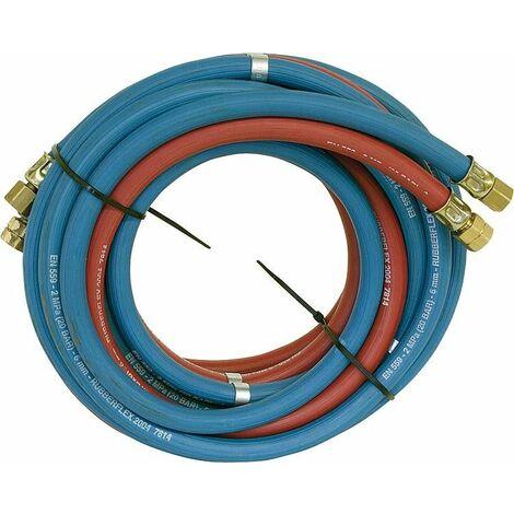 """tuyau acetylene et oxygene 9x3,5mm(A), 6x5,0mm(S), 5 metres gaine et ecrou chapeau 1/4"""" droite, 3/8"""" gauche"""