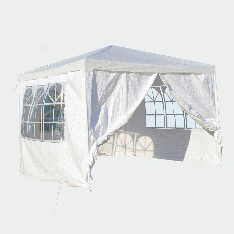 MercartoXL 3x3m kiosque avec des panneaux amovibles, blanc, fenêtre pliable
