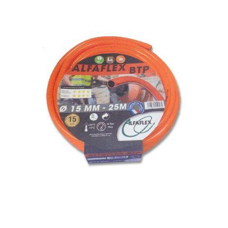Tuyau arrosage orange spécial BTP Ø19, lg 25m ALFAFLEX