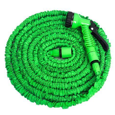 Tuyau arrosage vert 7 fonctions extensible, longueur maxi 45 m
