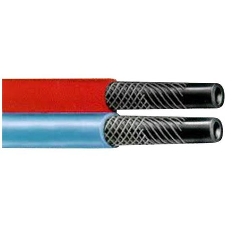 Tuyau caoutchouc bleu-rouge pour oxygene-acétylene O6, le metre