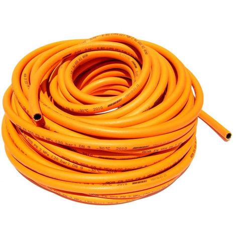 Tuyau caoutchouc orange pour gaz propane O8, le metre