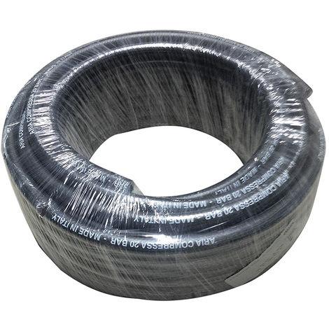 tuyau d'air comprimé 10x17 mm 20 bar max 60 barres noires mètres à 50 mètres made in Italy.