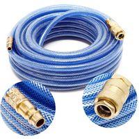 Tuyau d'air comprimé PVC 15m Compresseur Flexible pneumatique Gaine en tissu Raccord rapide