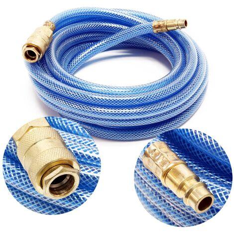 Tuyau d'air comprimé PVC 5m Compresseur Flexible pneumatique Gaine en tissu Raccord rapide