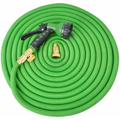 Tuyau d'Arrosage Extensible 30M 8 Fonctions - Tuyau Arrosage Flexible Vert avec Pistolet Amovible - Tuyau Arrosage Extensible 8 Fonctions pour Arrosage des Plantes, Nettoyage du Jardin et Irrigations - Vert