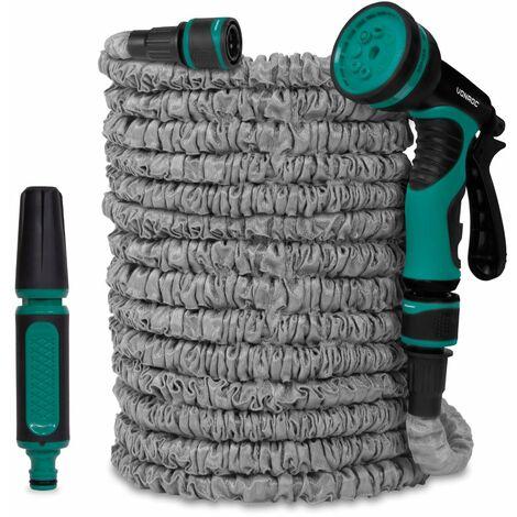 Tuyau d'arrosage flexible 10 à 30m – Support de tuyau, buse et raccords de tuyau inclus