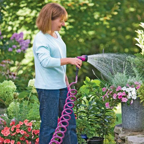 Tuyau d'arrosage télescopique extensible en spirale Tuyau EVA 15m laiton Tube Fittings Connecteur pour jardin Nettoyage Patio