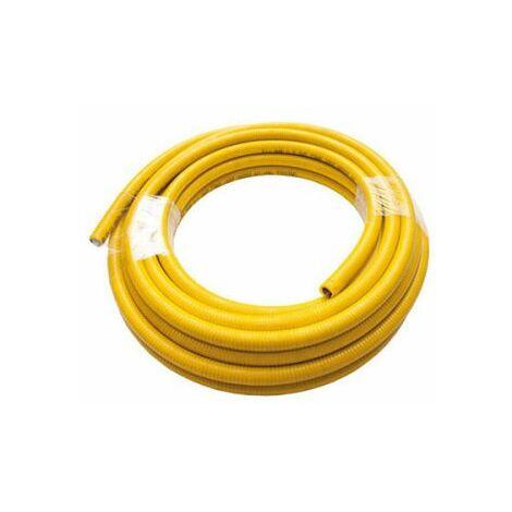 """Tuyau de gaz / eau Inox 20 mt. 1 """" couvert de jaune"""