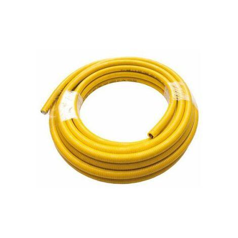 """Tuyau de gaz / eau Inox Uniroll 10 mt. 1 """" couvert de jaune"""