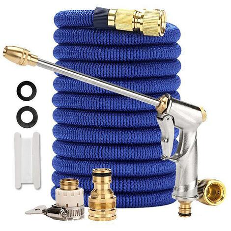 Tuyau de nettoyage de jardin avec buse Flexible and Expandable Garden Hose Solid Brass Fittings 6 Function Spray Nozzle bleu 7.5m