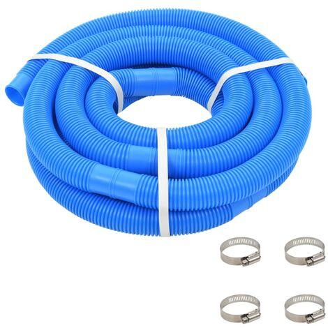Tuyau de piscine avec colliers de serrage Bleu 38 mm 6 m