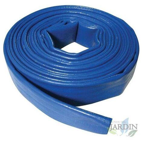 Tuyau de refoulement 50mm 5 mètres pour l'évacuation de l'eau, Caoutchouc plat en polyester PVC bleu pour le feu et les piscines