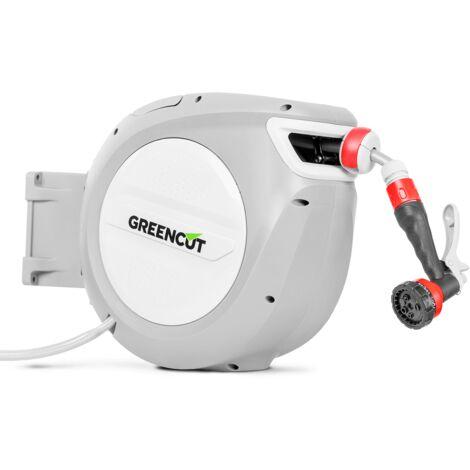 Tuyau d'eau MNG100 10m. Dévidoir automatique et support mural pivotant à 180º. Buse de tuyau à 9 positions - Greencut