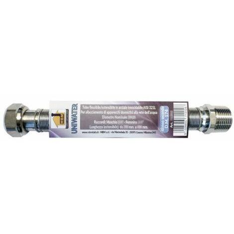 tuyau eau flexible extensible INOX 3/4'' M/F 200/400mm