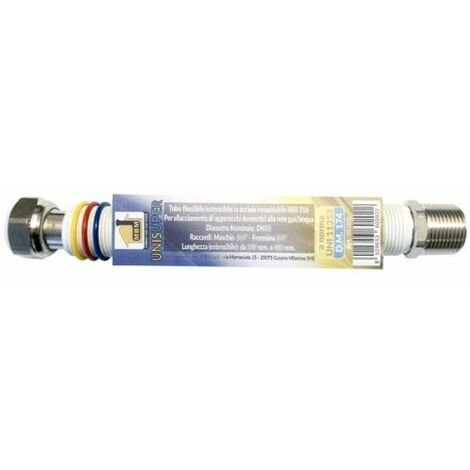 "Tuyau extensible gaz/eau inox 3/4"" 260/520mm unisuper blanc"