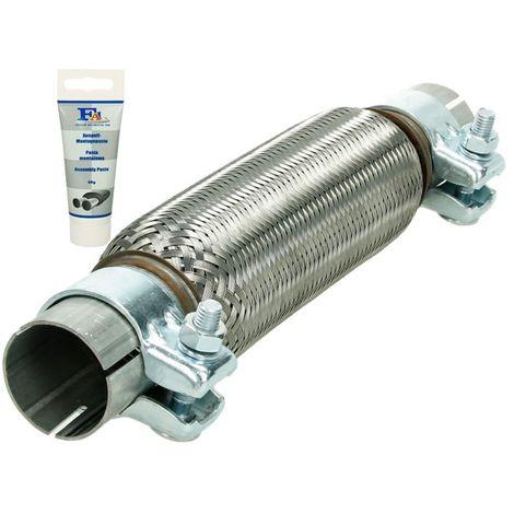 Tuyau flex universel en acier inoxydable Interlock réparation d'échappement 45 x 230 mm avec 2 pinces Montage sans soudure + pâte d'échappement 60 g