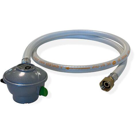 Tuyau flexible de gaz 1,5 m à embouts mécaniques + Détendeur Quick-on Ø20mm Butane 28mbar 1,3kg/h