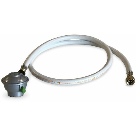 Tuyau flexible de gaz 1,5 m embouts mécaniques + Détendeur Quick-on Ø27mm Propane 37mbar 1,5kg/h