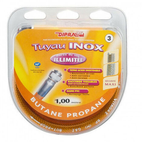 Tuyau flexible en inox pour gaz butane propane - plusieurs modèles disponibles