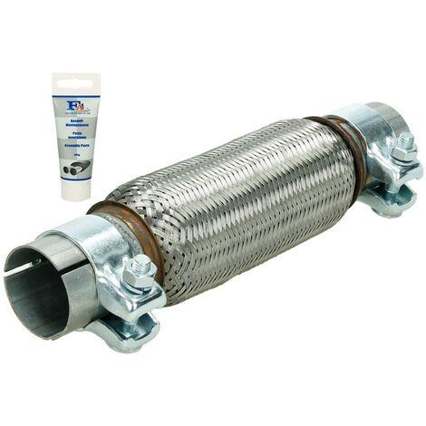 Tuyau flexible tube echappement 50x200 mm 2x colliers universel pâte de montage