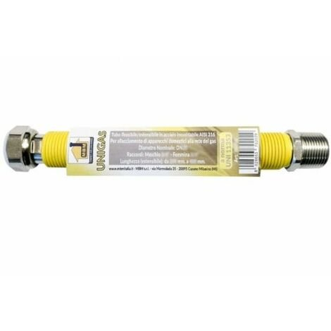 "tuyau gaz flexible extens. INOX 1/2""M 3/4''F 100/200mm jaune"