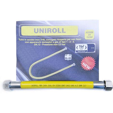 """tuyau gaz flexible INOX 0,5 mt 1/2"""" FF EN15266 UNIROLL cuisine"""