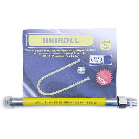 """tuyau gaz flexible INOX 0,5 mt 1/2"""" MF EN15266 UNIROLL cuisine"""