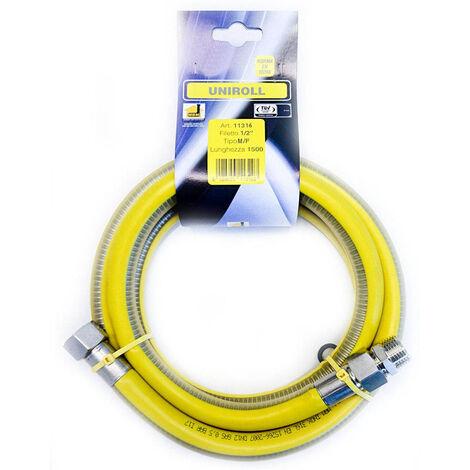 """tuyau gaz flexible INOX 1,5 mt 1/2"""" MF EN15266 UNIROLL cuisine"""