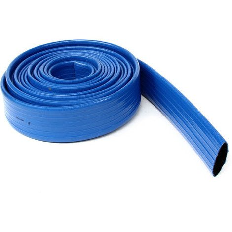 Tuyau plastique bleu plat de refoulement O76, le metre