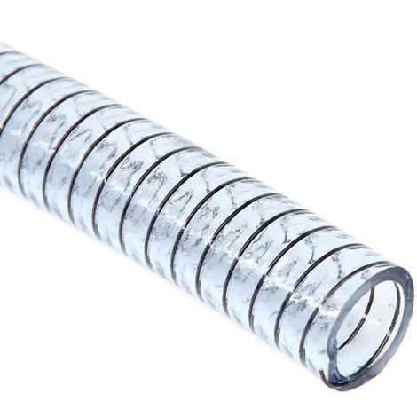 Tuyau plastique transparent aspiration spire acier O20, le m