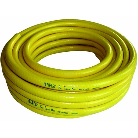 Tuyau PVC d'arrosage jaune anti torsion O19 en 25m