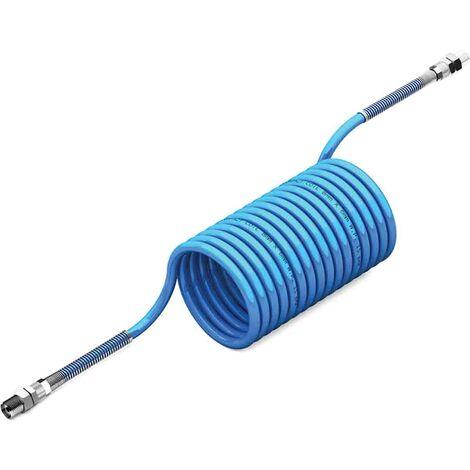 Tuyau spiralé, avec raccordement BSP 1/4 pouce mâle, Bleu, Diam.ext 8mm, Long. 10m