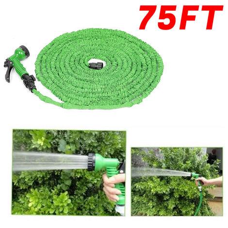 Tuyaux d'arrosage extensible rétractable 22.5m avec pistolet 7 fonctions vert