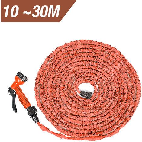 Tuyaux d'arrosage extensible rétractable avec pistolet 7 fonctions pour jardin, irrigation, nettoyage - 100FT / 30m - Orange - Orange