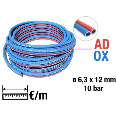 Tuyaux de caoutchouc jumelés TWIN gaz oxygène (bleu) - acétylène (rouge)