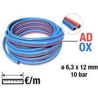Tuyaux de caoutchouc jumels TWIN gaz oxygne (bleu) - actylne (rouge)