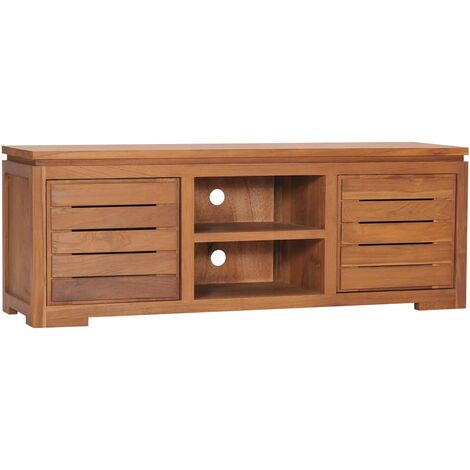 TV Cabinet 110x30x40 cm Solid Teak Wood - Brown