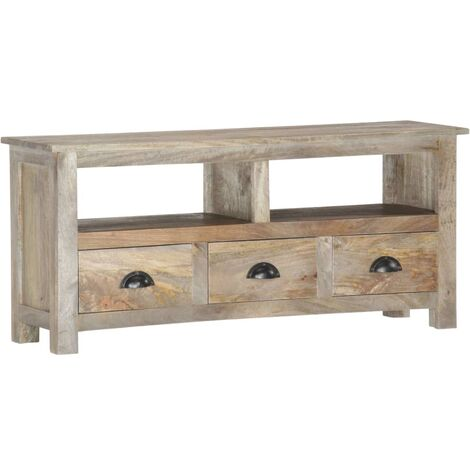 TV Cabinet 110x30x50 cm Solid Mango Wood