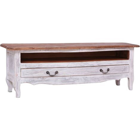 TV Cabinet 120x30x40 cm White Solid Reclaimed Wood