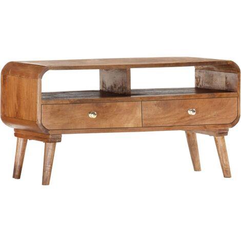 TV Cabinet 90x35x47 cm Solid Mango Wood - Brown