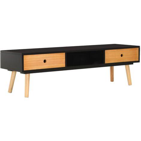 TV Cabinet Black 120x35x35 cm Solid Pinewood