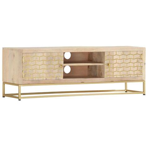 TV Cabinet Gold 120x30x40 cm Solid Mango Wood