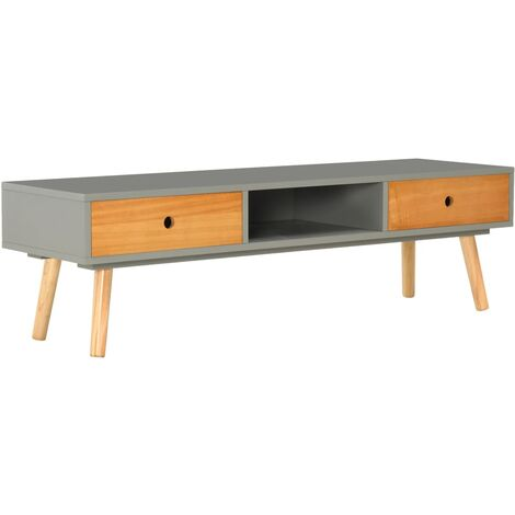 TV Cabinet Grey 120x35x35 cm Solid Pinewood