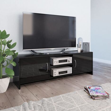 TV Cabinet High Gloss Black 120x30x37.5 cm Chipboard