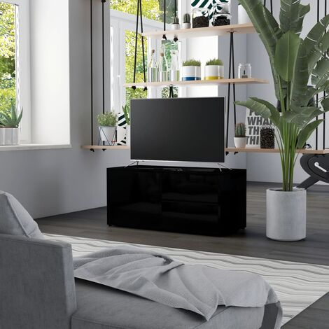TV Cabinet High Gloss Black 80x34x36 cm Chipboard